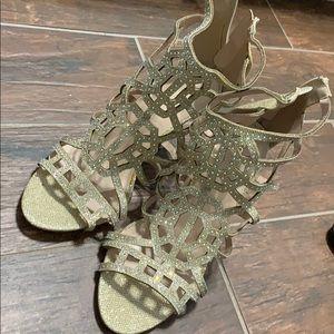 Gold rhinestone caged heel